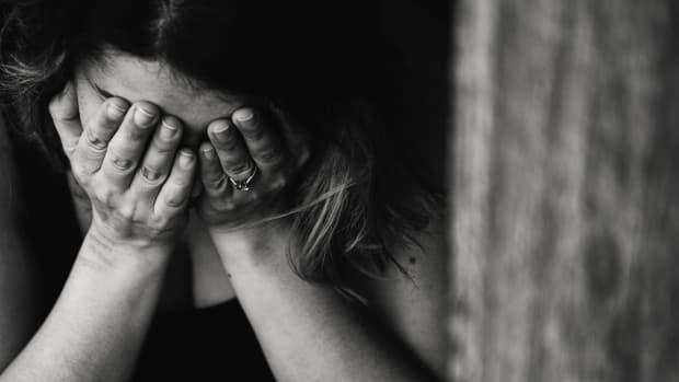 girl alone depressed black white photo