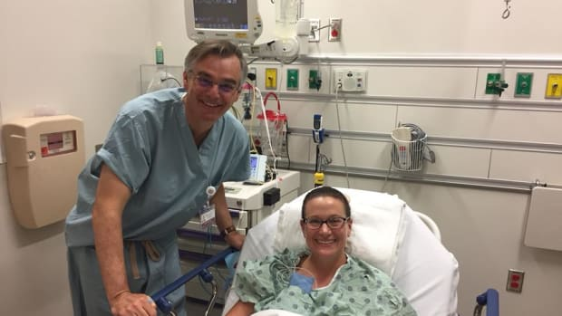 Angie Sadowski with colorectal surgeon