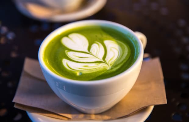 Swap out your morning coffee with this matcha green tea latte for an antioxidant boost.