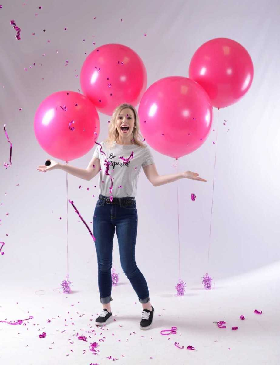 Emily Parris with balloons