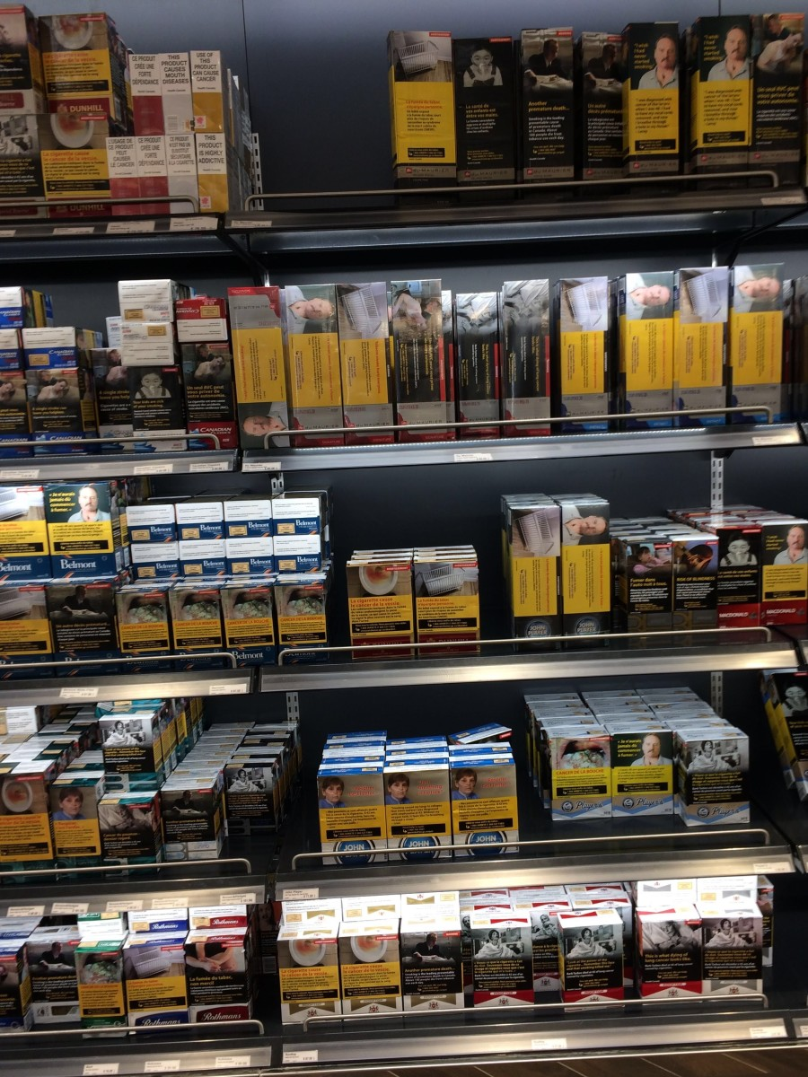 Picture of a Canadian cigarette display I snapped the other day at the airport.