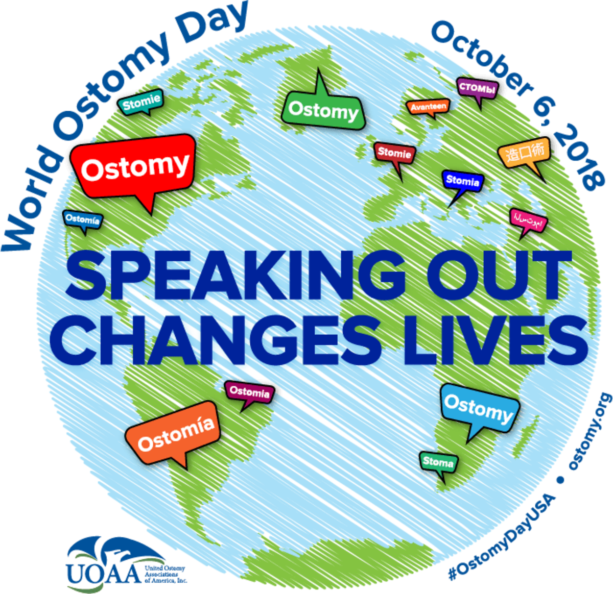 World Ostomy Day 2018 Speaking Out Changes Lives logo