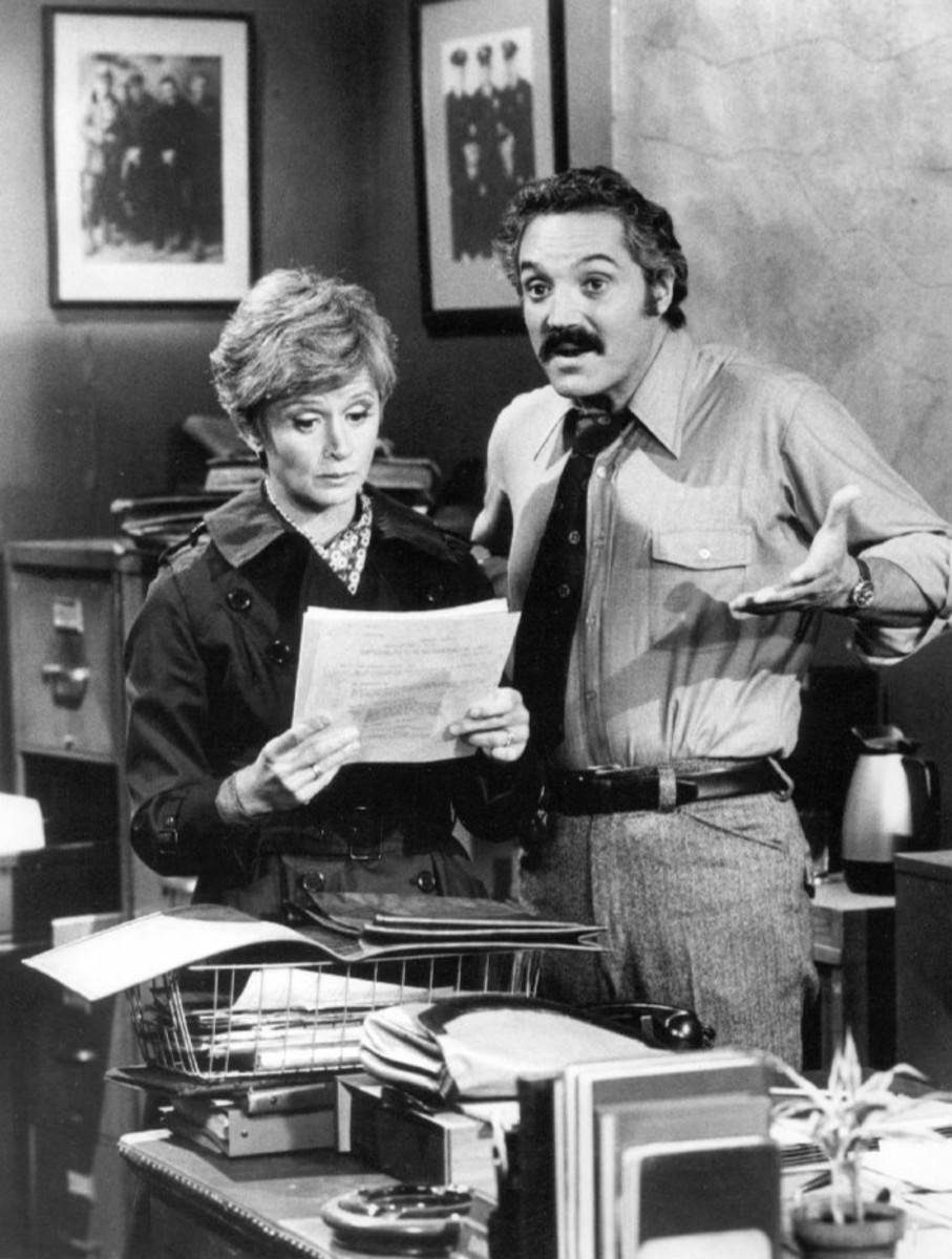 Barbara Barrie on the set of Barney Miller in 1975 with Hal Linden.