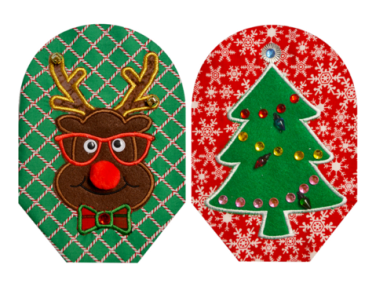 Festive Reindeer Winston and Christmas Tree pouch cover set!