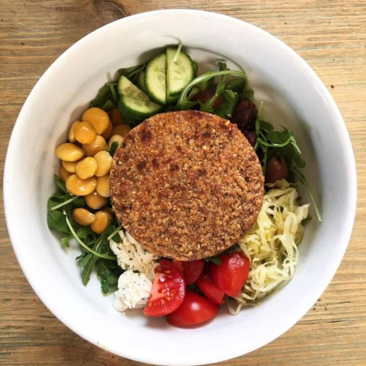 Hilary's Eat Well burger salad