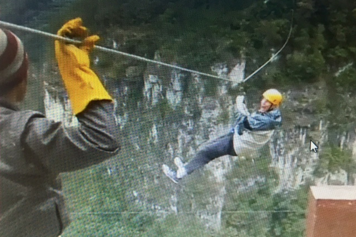 Dr. Joseph Salisz ziplining in Honduras