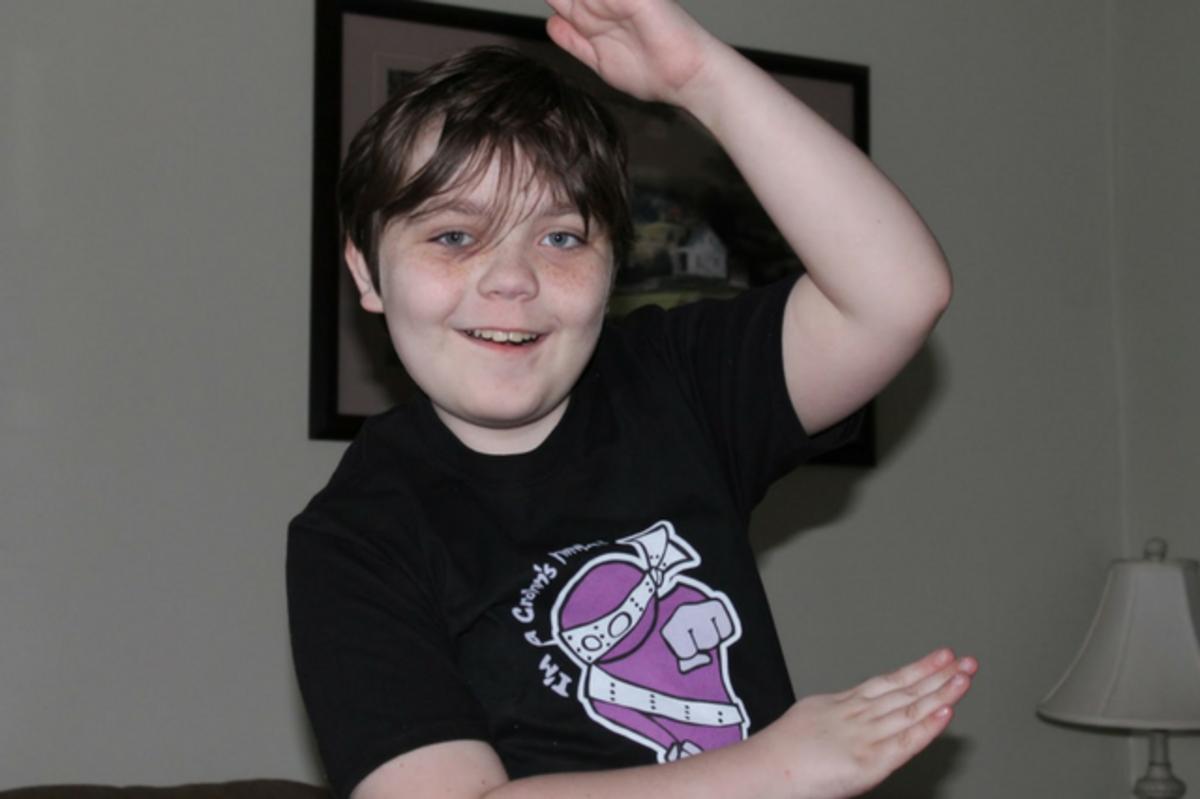 Jacob Ralson in Colitis Ninja t-shirt