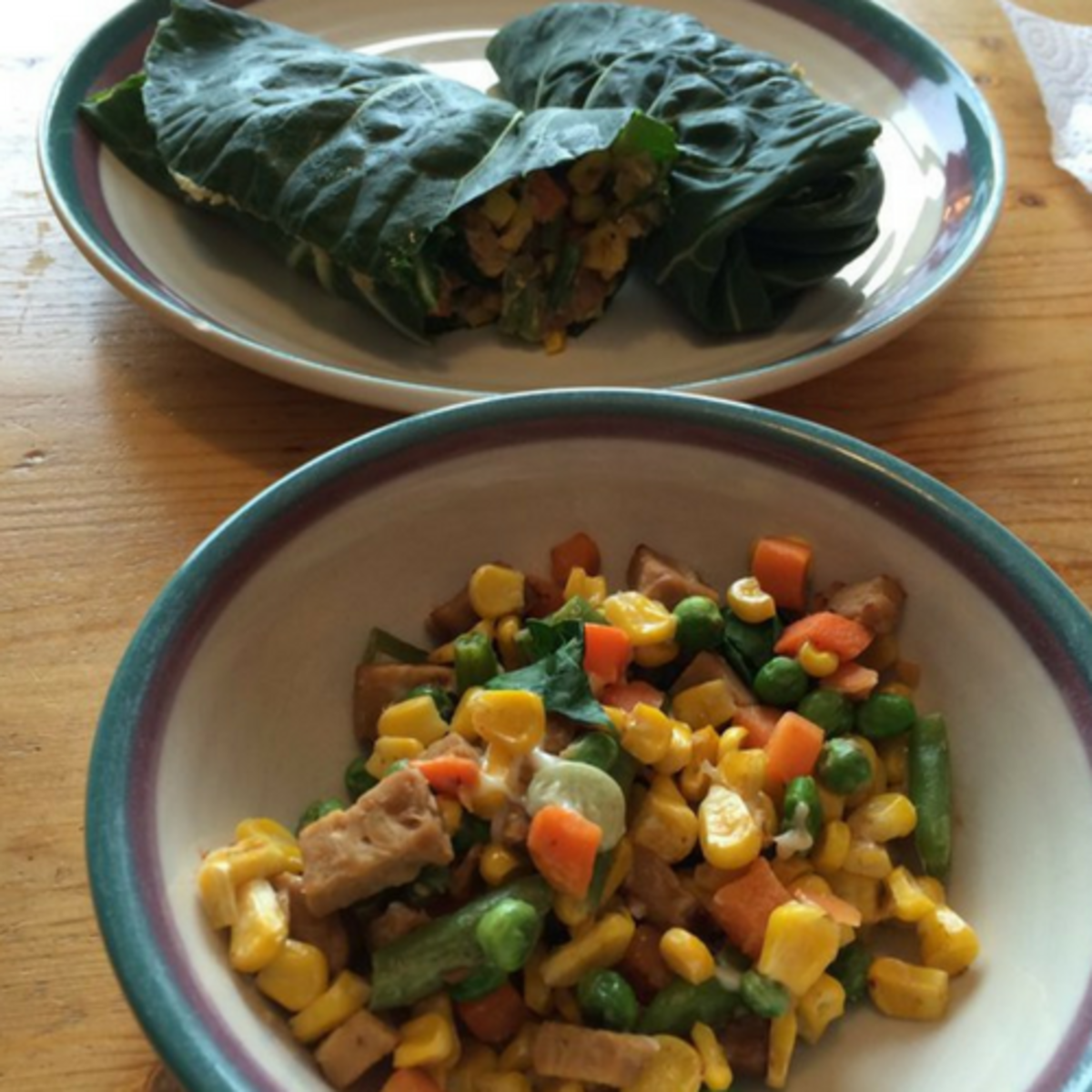 hummus and fake cheese collard wraps.
