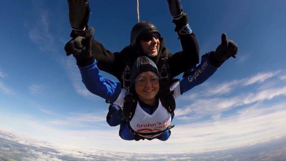 Skydiving for Crohn's and colitis awareness.