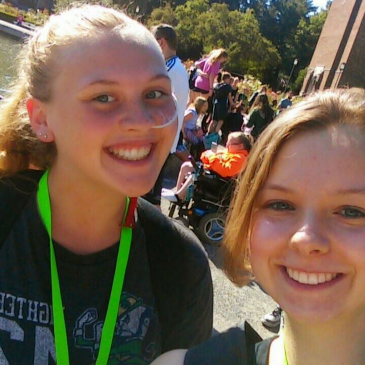 Katie (left) and I are at Youth Rally camp.