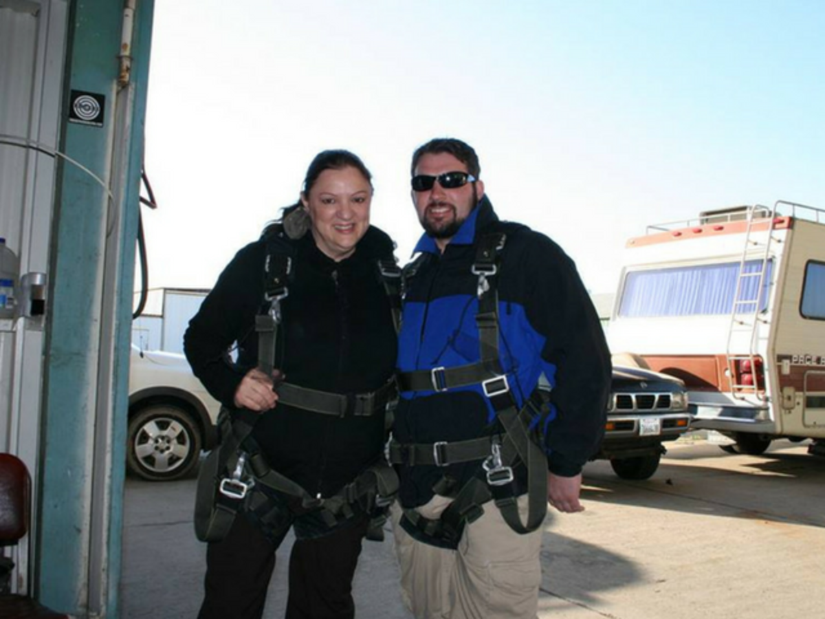 Richard skydiving in a Stealth Belt Pro with his mother Rita.
