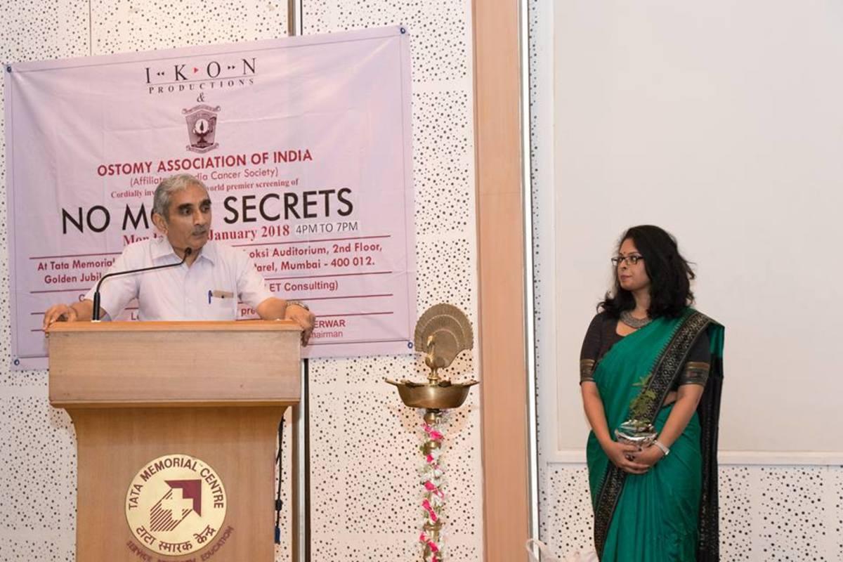 Dr. Buch with Anisha Vijayan at Tata Memorial Centre promoting the film, No More Secrets.