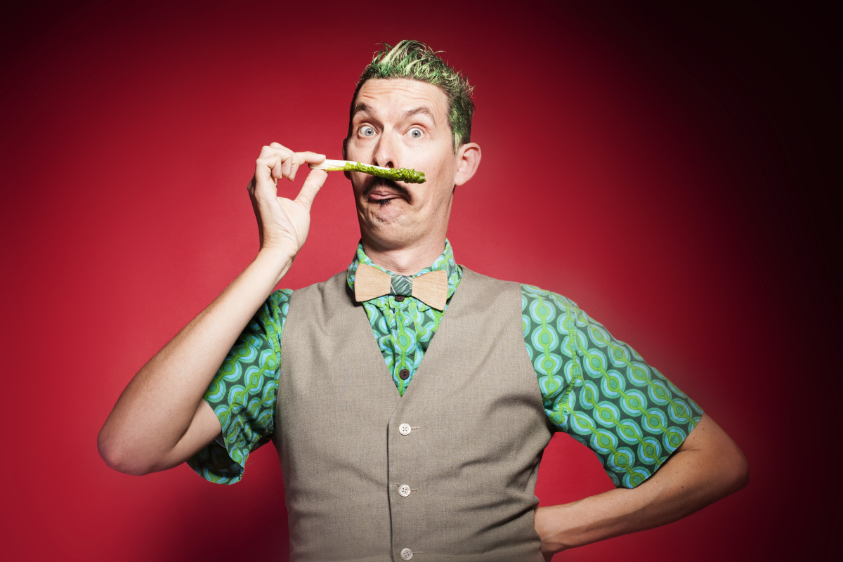 Luke Escombe as Aspara Gus in The Vegetable Plot–photo by Lyn Taylor