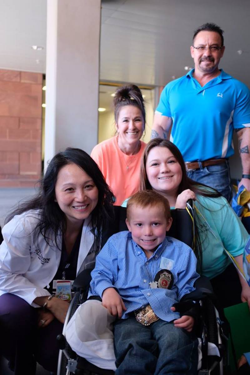 Ryland's big send-off on 1/11/18, saying goodbye to the doctors and nurses who took care of him.